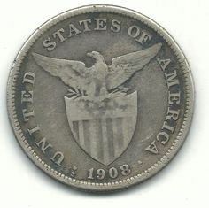A VINTAGE VERY NICE 1908 S UNITED STATES PHILIPPINES ONE PESO SILVER COIN-MAY158