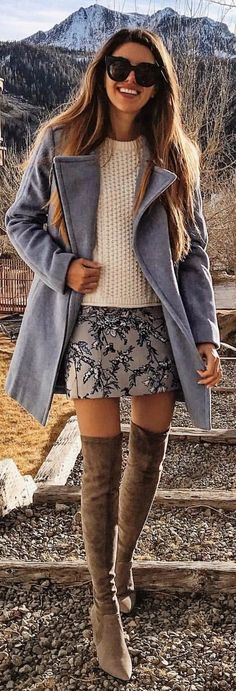 #winter #outfits  gray coat, beige top, gray floral skirt, and pair of brown suede knee-high boots outfit