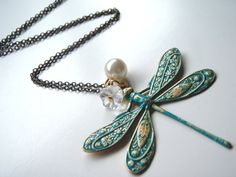 Fly Away with Me Vintage Dragonfly Necklace by MadisonHoneyVintage, $24.00