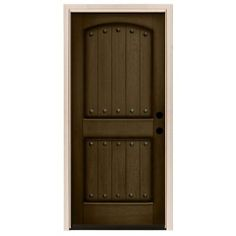 Rustic 2 Panel Plank Stained Mahogany Wood Prehung Front Door Hickory White Planksfront Doorshome Depotsons