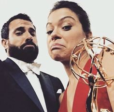 Tatiana Maslany and Tom Cullen with newly won Emmy for OB. I feel like my team just won the Super Bowl. Orphan Black, Tatiana Maslany, Tony Goldwyn, Sci Fi Thriller, Most Beautiful People, Beautiful Women, You're Hot, Bbc America, Canadian Actresses