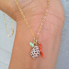 Drupe Coral and Turquoise Necklace 14kt Gold Filled by MishaHawaii, $45.00