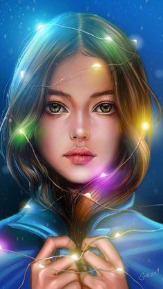 Girl Portrait Lights Hanging Around Head - iPhone Wallpapers