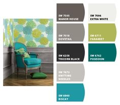 Grey, Teal Green. Green Living RoomsLiving Room ... Part 36