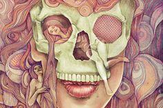 """'…después de todos estos desarrollos inesperados en mi vida, comencé a pensar en la muerte. No son pensamientos altamente filosóficos, son solo algunas formas, colores y sentimientos. La pregunta principal que ha estado en mi cabeza es """"¿Qué es lo que le pasa al humano cuando el cuerpo deja de funcionar?"""" Esta ilustración no es la respuesta. Con nuevas ilustraciones tratare de encontrar la respuesta para mi…'Kathy Murysina es una ilustradora de Rusia."""