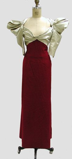 Dinner dress with satin bodice and red velvet skirt, by Robert Piguet, French, 1938.