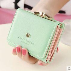 Fashion women wallets multi-function High quality small wallets rivet love short design three fold wallet coin purse for women Card Wallet, Purse Wallet, Coin Purse, Simple Wallet, Fashion Bags, Fashion Women, Style Fashion, Minimalist Bag, Cute Wallets