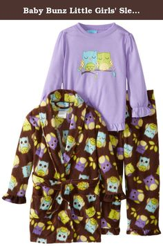 Baby Bunz Little Girls' Sleepy Owls Pajama Set, Brown, 3T. 3 Piece robe and pajama set.