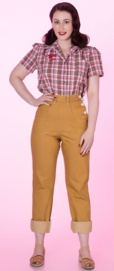 Gold 1950s Button Jeans