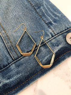 Gold Geometric Hammered Earrings