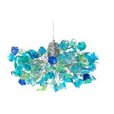 Ceiling light with sea color flowers and leaves, for living rooms,... ($185) ❤ liked on Polyvore featuring home, lighting, ceiling lights, flower lights, petal lamp, blossom lights, leaf lamp and colored light