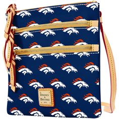 Women's Denver Broncos Dooney & Bourke Navy Triple Zip Crossbody Purse