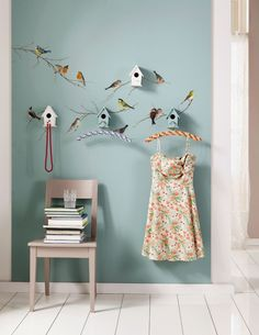 behang vogels met echte huisjes