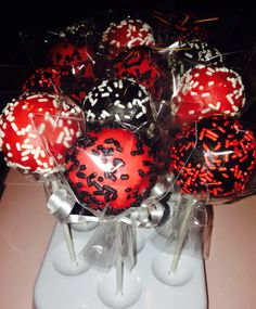 Red Black And White Cake Pops