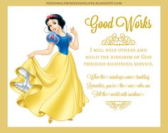 Young Women's Values with Disney Princesses. This is Good Works.