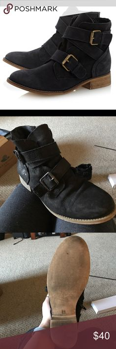 Like new Steve Madden Teritory booties Leather booties that hit just above the ankle with metal buckles Steve Madden Shoes Ankle Boots & Booties