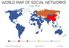 World map of top social networks shows Facebook now dominates 130 out of 137 countries