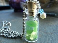Tiny Glass Bottle Filled with Sea glass, Window Display or Pendant