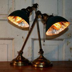Pair of Faries lamps with mercury glass shades. #hindsstudio #antique #antiqueindustrial #vintage #vintagelighting #vintageindustrial #lamp #light #lighting #mercuryglass #xray #farieslamp #decatur #illinois #fleafind #antiqueshop #vintagestore  #brass #beautiful #bespoke #desk #designer #table #bench #factory #reflector Industrial Lighting, Vintage Lighting, Table Bench, Table Lamp, David Hinds, Decatur Illinois, Mercury Glass, Antique Shops, Vintage Industrial