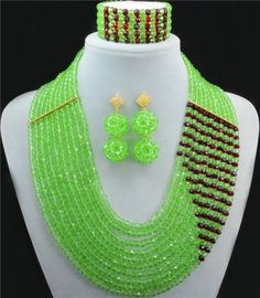 Splendid 2016 New Green Crystal Costume Necklaces Nigerian Wedding African Beads Jewelry Set 10012