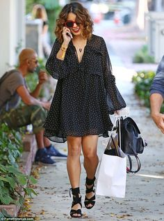 Retail therapy: Vanessa Hudgens was seen shopping in West Hollywood on Thursday