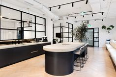 Siren Design have created a new sense of space for Maximus, a business management consultancy located in Melbourne, Australia. Siren Design was able to Office Interior Design, Office Interiors, Interior Decorating, Office Designs, Siren Design, Modular Lounges, Banquette Seating, Break Room, Modern Industrial