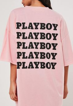 Playboy x Missguided Pink Repeat Slogan T Shirt Dress . Order today & shop it like it's hot at Missguided. Oversized Hoodie Dress, Hooded Sweater Dress, Slogan T Shirt Dress, Bunny Logo, Brunch Outfit, Dresses Uk, Missguided, Playboy, Mens Tops