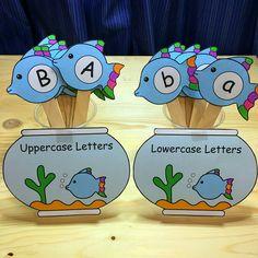 fishbowl alphabet sort for preschool and kindergarten Early Learning Activities, Preschool Letters, Learning Letters, Alphabet Activities, Preschool Learning, Literacy Activities, Preschool Activities, Rainbow Fish Activities, Early Childhood Activities