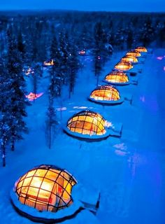 Watch the nortern lights from a glass igloo in Finland
