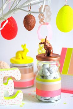 Bunny jars 2013 dollar tree bunny figurines spray paint one color and glue to jar lid