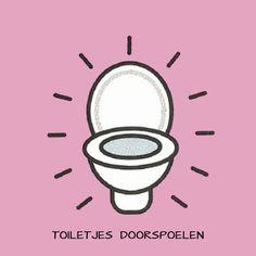 Het onthaal en de kalenders: De helpende handjes - toiletjes doorspoelen (prent)