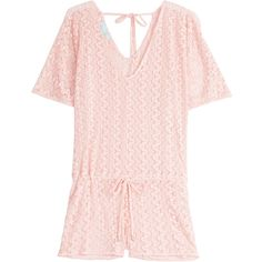 Melissa Odabash Knit Alyna Playsuit ($185) ❤ liked on Polyvore featuring jumpsuits, rompers, pink, v neck romper, short sleeve romper, knit romper, playsuit romper and pink rompers