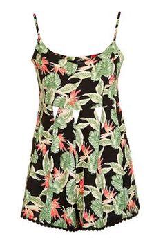 PETITE Tropical Leaf Playsuit