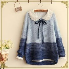 Japanese openwork knit sweater from Sanrense Cute Fashion, Asian Fashion, Girl Fashion, Fashion Outfits, Estilo Lolita, Ulzzang Fashion, Kawaii Clothes, Mori Girl, Cute Outfits