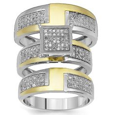 This large diamond wedding band set is crafted in 10K yellow and white gold. The engagement ring is pave set with small round cut diamonds and crafted in both white and yellow gold. The engagement ring comes with a matching womens wedding band which measures to 1/4 Inches in width and pave set with numerous small round cut diamonds. The bridal ring set comes with an additional mens diamond wedding band which measures to 5/16 Inches in width. $995.00