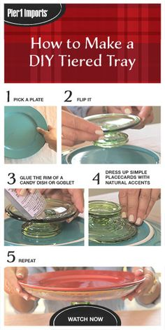 You'll never run short of festive serving trays if you follow these simple steps from POPSUGAR. Start with some plates and glassware from Pier 1 Imports, add a little glue, and you're all set to serve up holiday treats. #DIY