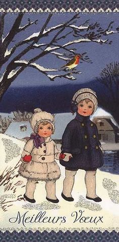 French children Christmas card made in Germany