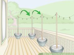 Hanging Patio Lights, Outdoor Deck Lighting, Pergola Lighting, Porch String Lights, Lights On Deck, Simple, Future Islands, House Ideas, Courtyards
