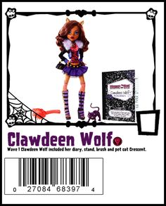 Wave 1 Clawdeen includes brush, stand and pet Crescent