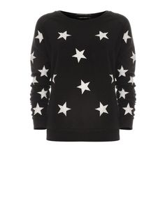 Black sweater with creme leather look stars | Maison Scotch