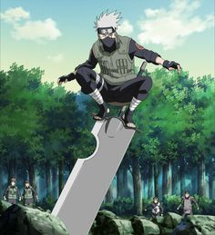 Kakashi Hatake is standing on guillotine sword