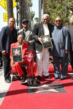 """Two of the surviving Funk Brothers (with legendary Stevie Wonder on right) receiving their """"star"""" on the Walk Of Fame on Hollywood Blvd. in Hollywood, CA."""