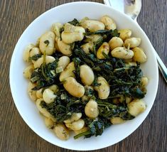 Greek Roasted Beans with Spinach- Gigantes me Spanaki