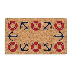 Nautical Door Mat with Life Preserver and Anchor Motif. Bed Bath & Beyond.