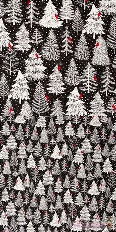 """black fabric with small red cardinal birds on white trees print, with different types of pines, firs and tiny snowflakes, Material: 100% cotton, Fabric Width: 112cm (44"""") #Cotton #Trees #Snowflakes #Christmas #USAFabrics White Xmas Tree, White Trees, Cardinal Birds, Kawaii, Christmas Fabric, Tree Print, Black Fabric, Fabric Patterns, White Christmas"""