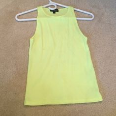 Topshop Neon Yellow Tank stretchy ribbed material, brighter color than pictured, never worn Topshop Tops Tank Tops