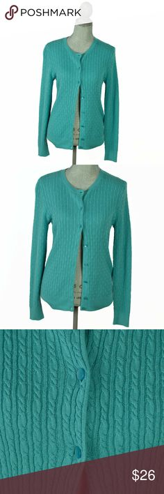 ed40e0c24a Talbots turquoise cardigan fine cable knit M An excellent used condition  Talbots turquoise cardigan in fine