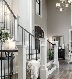 like the color of these ones 44 modern farmhouse staircase decor ideas 60 House Design, House, Staircase Decor, Home, Staircase Design, House Rooms, House Styles, New Homes, Home Interior Design
