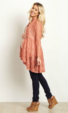 This long sleeve floral print maternity cardigan is perfect when you want to feel feminine and look casual. This delicate floral lace open cardigan will go beautifully over a maternity cami and paired with your favorite maternity jeans. Dress this cardigan up even further with a long necklace and boots. #maternityoutfits