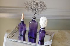 Beach Decor Set of 3 Vintage Purple Bottles with Black Sea Fan, Sea Biscuit and Mitra Mitra Seashell READY TO SHIP